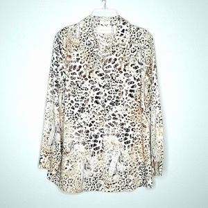 Chico's Taylored Animal Print Button Down